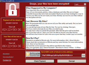 Окно вируса WannaCry